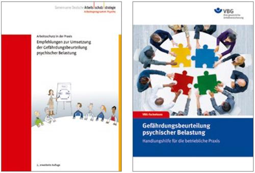abgebildete titelseiten von broschren der gda und der vbg - Gefahrdungsbeurteilung Psychische Belastung Muster